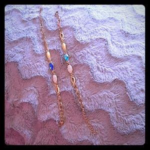 Jewelry - Goldtone bracelets  Sapphire Blue or Teal blue